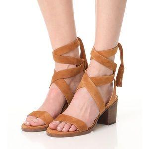 Splendid Suede Wraparound Heels with Block Heel